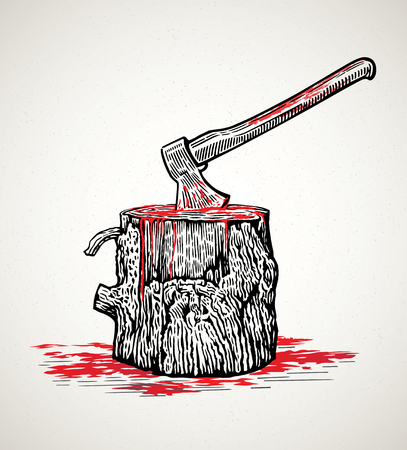 Ax in a wooden stump with blood stains Illustration