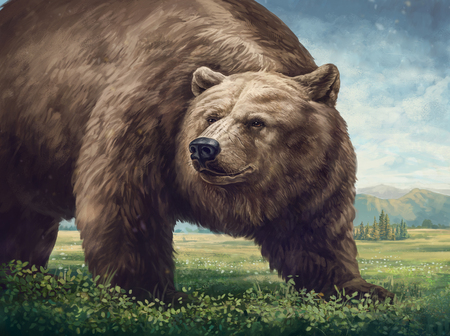 Illustration of an old bear in a wild landscape. Raster illustration.