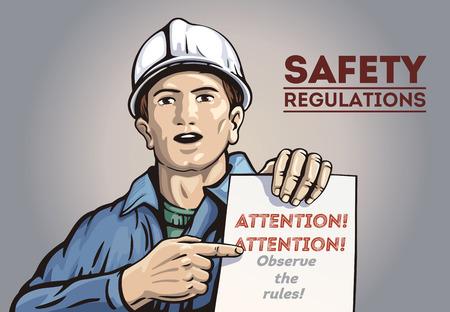 Affiche avec l'homme du travail, tenant en main avec un dépliant. Illustration vectorielle.