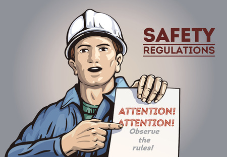Poster with labor man, holding in hand with leaflet. Vector illustration. Archivio Fotografico - 110087462