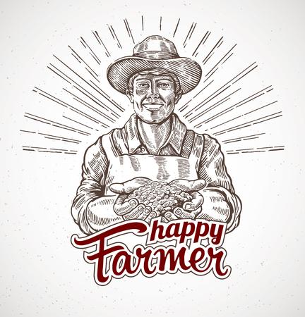 Granjero feliz sosteniendo un puñado de grano en sus manos Ilustración de vector