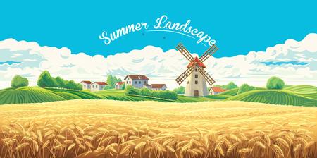 Ländliche Sommerlandschaft mit Dorf und Mühle und einem großen Weizenfeld. Vektorgrafik