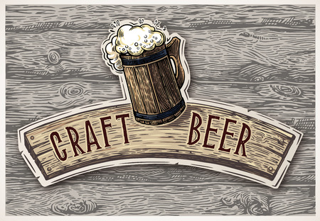 Beer mug drawn in graphic style, with a board and an thematic inscription against the background of wood texture