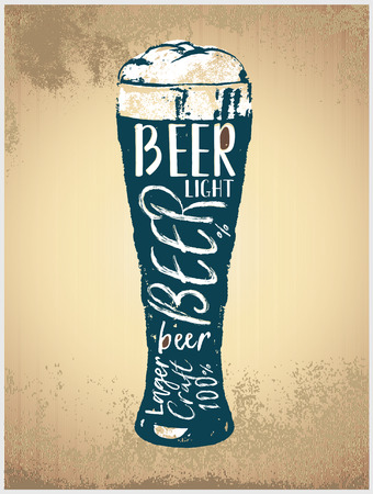 Glass with beer in graphic style, silhouette of a mug with a foamy beverage reminiscent of beer
