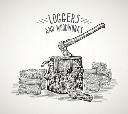 Ax stuck in a wooden stump with split logs, illustration in a graphic style