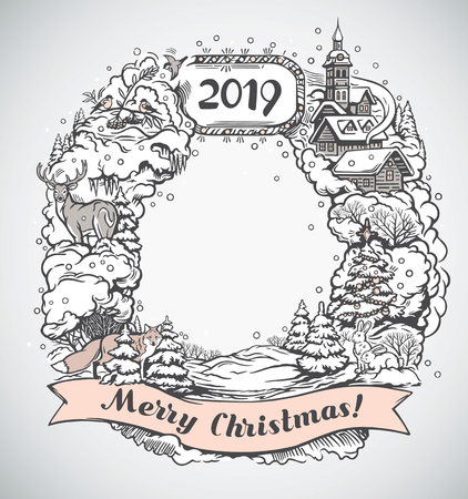 Festive graphic frame, with elements and objects of the Christmas holiday.