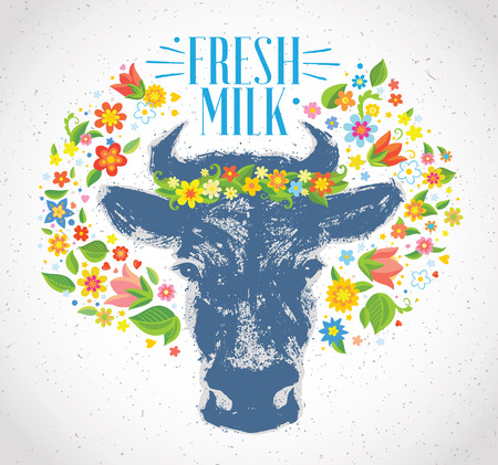 Cows head, in the form of a stain in a graphic style, in the surroundings of a wreath of flowers and herbs.