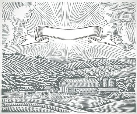 Rural landscape with engraving style. Illusztráció