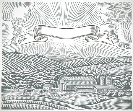 Rural landscape with engraving style. Illustration