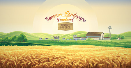 Summer rural landscape, dawn above hills, with tematic label. Ilustração