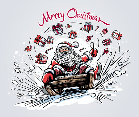 Surprised and cheerful Santa Claus, rides the mountain on a sleigh. Illustration