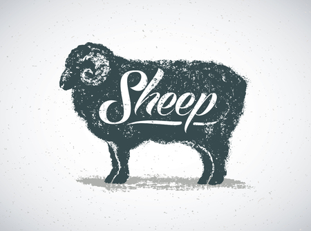 Ram, graphic silhouette Illustration and thematic inscription. 스톡 콘텐츠 - 110087482