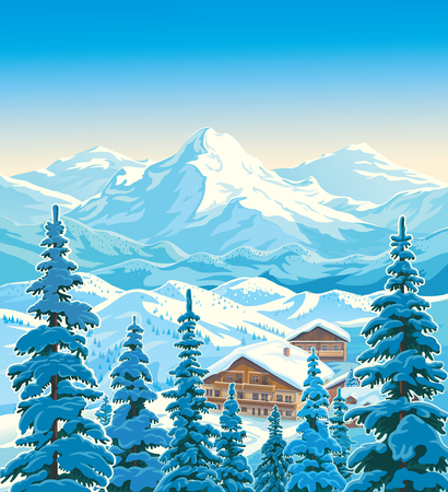 Winter mountain landscape with fir-trees in the foreground with houses similar to the hotels of the ski resort. Vector illustration. 스톡 콘텐츠 - 110087483