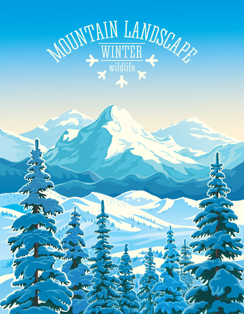 Winter mountain landscape with firs in the foreground. Illustration