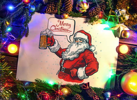 Illustration of a Santa Claus holding beer with a speech bubble. Stock Photo