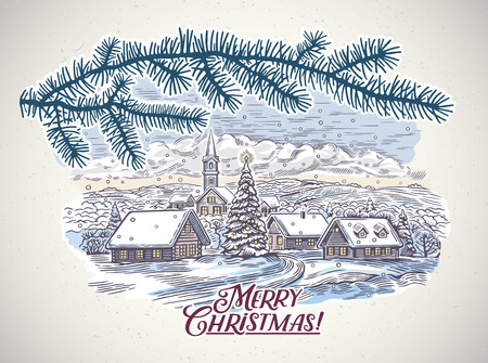 Festive winter countryside landscape with a spruce branch in the foreground. Ilustração