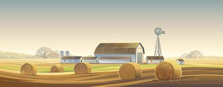 Paysage rural d'automne avec des balles de foin