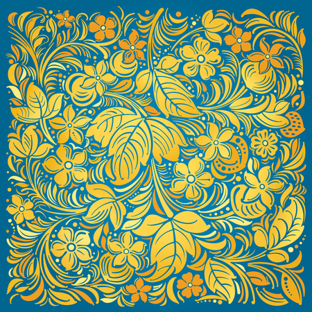 Russian traditional flower ornamental on blue background.