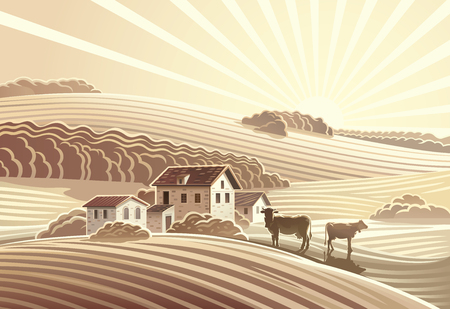 Rural landscape in sepia color Çizim