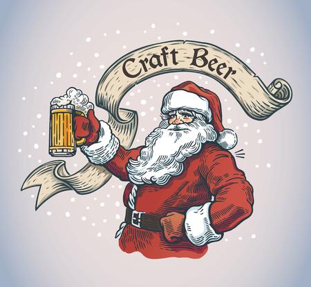 Cheerful Santa Claus with a mug.