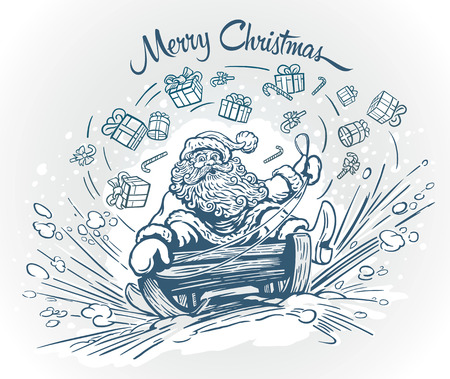 Surprised and cheerful Santa Claus, Christmas gifts and sweets.