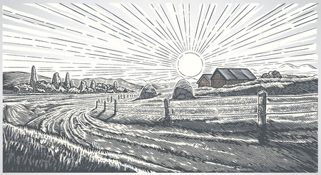 Paesaggio rurale con villaggio in stile incisione. Illustrazione di vettore.