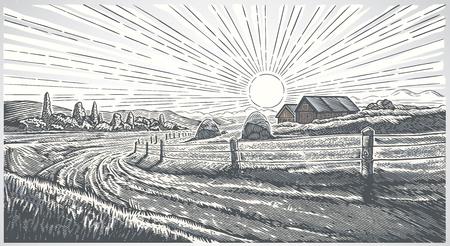 Paisaje rural con pueblo en estilo grabado. Ilustración de vector.