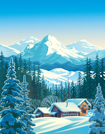 Winter mountain landscape for tourists. Vector illustration. Ilustração