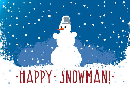 Snowman on a blue background