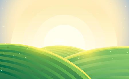 Morning rural landscape. Vector illustration.