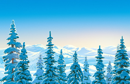 Winter mountain landscape with snow covered trees in the foreground.