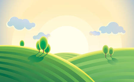 Sunrise over hills in cartoon style. Vector illustration. Ilustração
