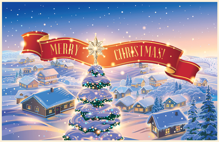 Winter landscape with festively decorated Christmas tree and tape. Festive village and mountain in the background. It can be used as a Christmas holiday card.