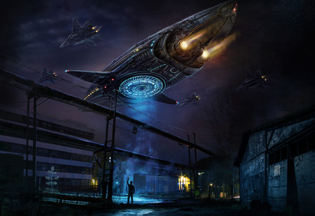 Es ist ein Konzept eines Raumfahrzeugs. Digitale Konzeptkunst.