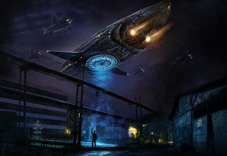 Es un concepto de nave espacial. Arte conceptual digital.