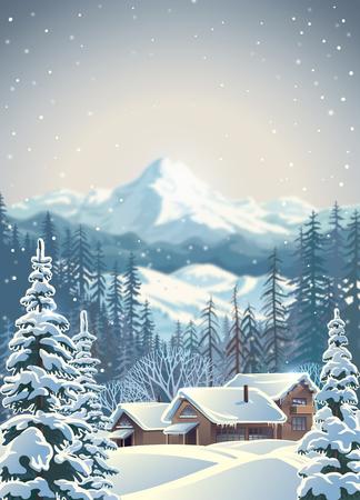 Winter mountain landscape. Vector illustration.