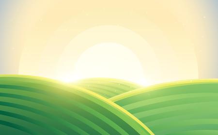 Sunrise over hills in cartoon style.