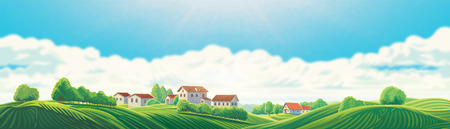 Rural panoramic landscape with a village and hills on a background of clouds Imagens