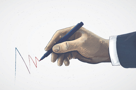 Hand in graphic style holding a pencil