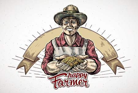 Happy farmer holding a handful of grain in his hands. Vector illustration in engraving style. Ilustração