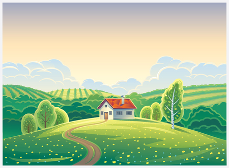 Rural landscape in cartoon style with a lonely house