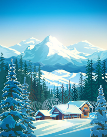 Winter mountain landscape for tourists. Raster illustration.