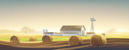Autumn rural landscape with hay bale Raster illustration.