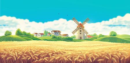 Large field of wheat. Raster illustration.