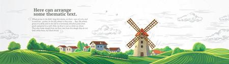 Ländliche bunte Landschaft mit Mühle und grafisch gezeichnetem monochromem Himmel. Vektorgrafik