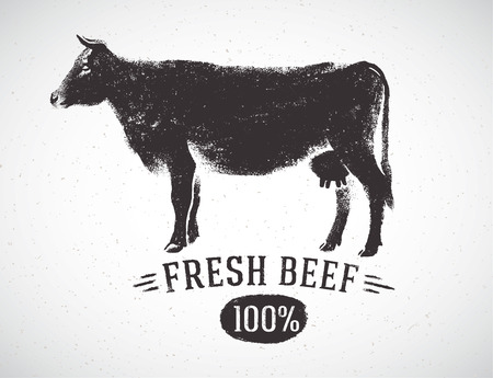 Graphical silhouette cow and inscription, hand drawn illustration.