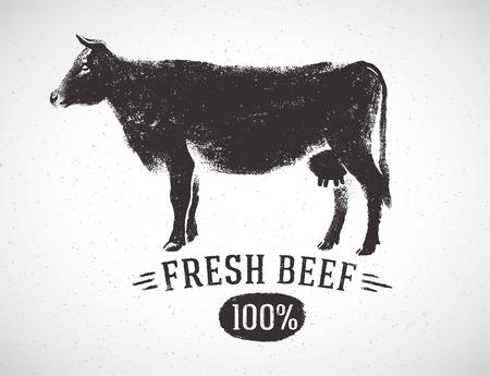 Vaca silueta gráfica e inscripción, Ilustración dibujada a mano.