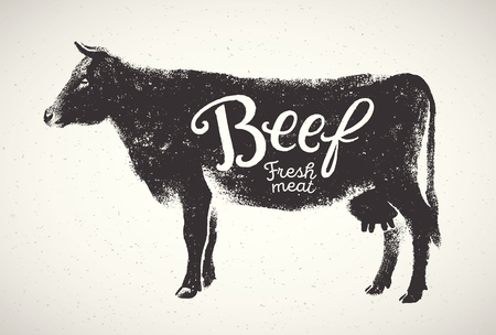 Graphical silhouette cow and inscription, hand drawn illustration. Фото со стока - 120507524