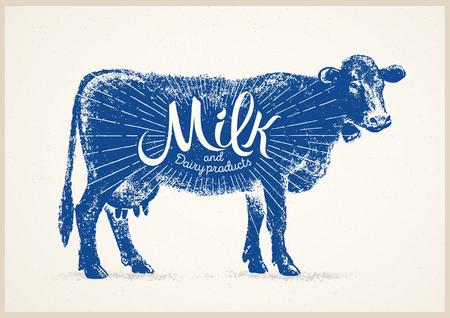 Graphical silhouette cow and inscription. Фото со стока - 120507525