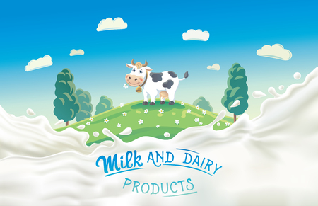 Mucca in stile cartone animato e spruzzata di latte. Vettoriali
